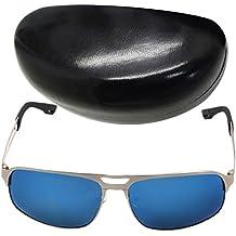 DEHANG Gafas de sol ciclismo bicicleta de moda para Hombres UV400 Caballero Conducir Piloto Guapo Playa con lente reflexivo - Montura plata Cristal azul - con estuche y bolsa