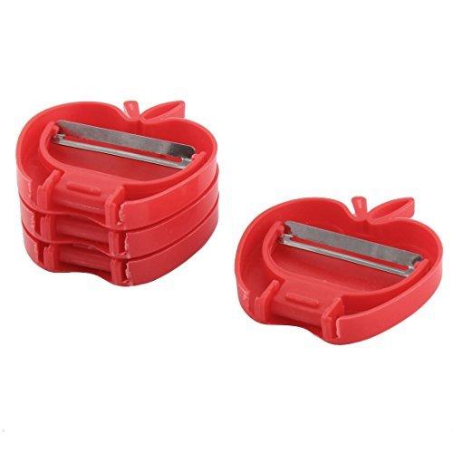 Deal Mux plastique poignée de cuisine pliable en forme de pomme de fruits légumes éplucheur de 4pcs Red
