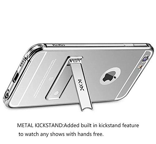 Vandot 1X Exclusive Zubehör Luxus SPIEGEL Mirror Ultra Slim Dünn Metall Bumper iPhone 6 4.7 Zoll Rahmenschutz Hülle Glitzer Case Rückseite Bling Kristall Harte Hard Schale Crytsal Tasche Etui Aluminiu Mirror Silber-1
