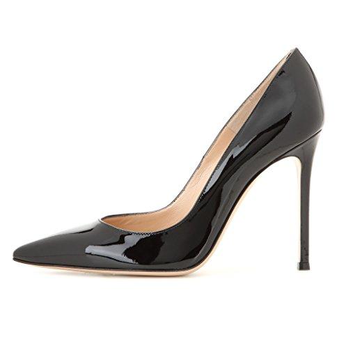 EDEFS - Escarpins Vernis Femme - Chaussures à Talons Hauts Aiguille - Bout Pointu PU Cuir - Fete Soiree Grande Taille PatentNoir