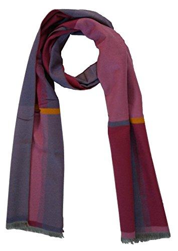 Schal 100% Seide Flanell Seidenflanell Fleece Flauschig 180X30 cm SC-S-SD-1704D Karo Lila Blau Gelb (Flanell-schal)