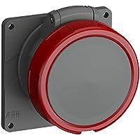 ABB 332ERU6W IP67 3P+E - Toma de enchufe de plástico para panel angular, color rojo