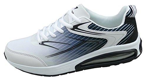 gibra Herren Sneaker Sportschuhe, Art. 4137, Sehr Leicht und Bequem, Weiß/Schwarz, Gr. 41-46 Weiß/Schwarz