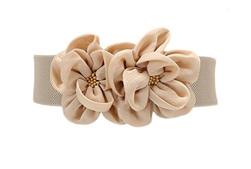 Las mujeres de las muchachas grandes de moda doble decoración flores hebilla ajustable cinturón de cintura ancha elástico (one size, apricot)