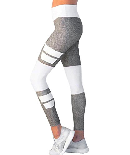 Yoga Hoese Yesmile Grau Patchwork Jogging Hose Yoga Pilates Hosen Fitness Leggings Stretch Sport Hosen (Grau, XL)