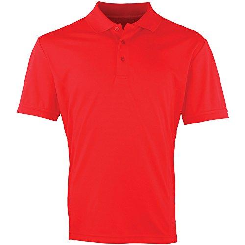 Premier Mens Coolchecker Pique Polo Shirt Strawberry Red