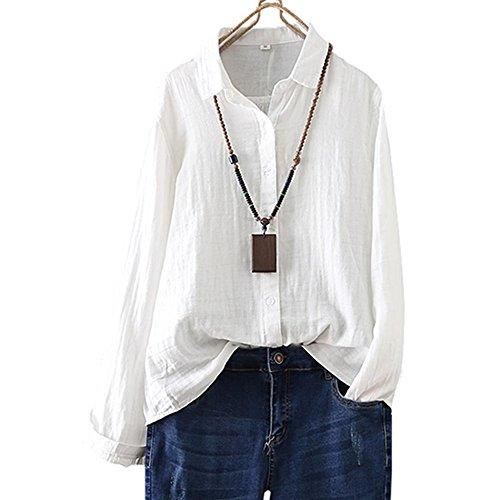 Frauen-Weinlese-Baumwollleinen Langarm-Shirt Button-Down-Lose Bluse Top (Solid-knopf-front-shirt)