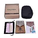 Zezego Kalimba 17 Tasten Thumb Piano, Material Acacia Material Finger Piano Cat Mit Geschenktasche Für die Liebhaber der Musik und Kinder - Farbe Natur (35 * 115 * 135 * 185mm)