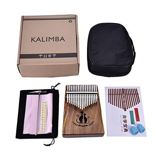 zezego Kalimba 17touches Thumb plan, matériel Acacia matériel Finger plan Cat avec sac cadeau pour les amateurs de la musique débutants et enfants?Couleur naturelle (35* 115* 135* 185mm)