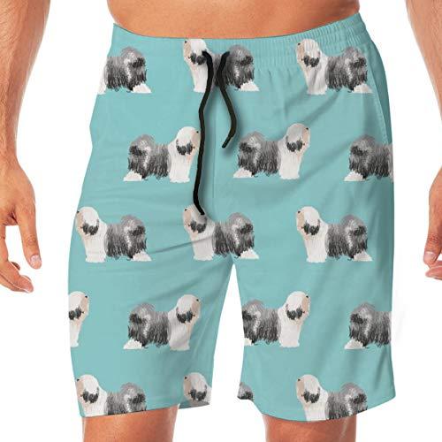 Pipaxing Tibet Terrier Hunderasse Stoff Standing Blue_421 Männer Badehose Surfen Strand Urlaub Party Schwimmen Shorts Strandhosen L -
