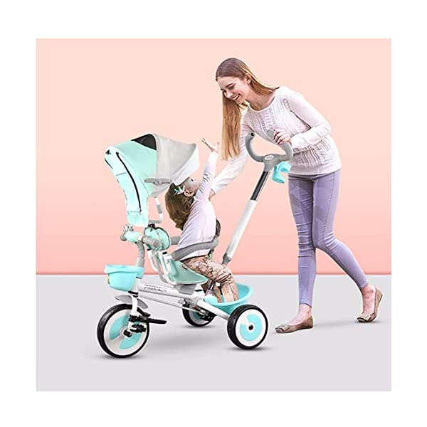 GSDZSY - 3 IN 1 Children Tricycle With Rainproof UV Protection Awning And Detachable Push Rod, Rotating Seat And Fully Enclosed Rubber Wheel, 1-5 Years Old GSDZSY ❀ MATERIAL : High carbon steel + ABS + rubber wheel, suitable for children from 1 month to 6 years old, maximum load 30 kg ❀ FEATURES : The push rod can be adjusted in height, the seat can be rotated 360 ; the adjustable umbrella can be used for different weather conditions ❀ PERFORMANCE : high carbon steel frame, strong and strong bearing capacity; non-inflatable rubber wheel, suitable for all kinds of road conditions, good shock absorption, seat with breathable fabric, baby ride more comfortable 4