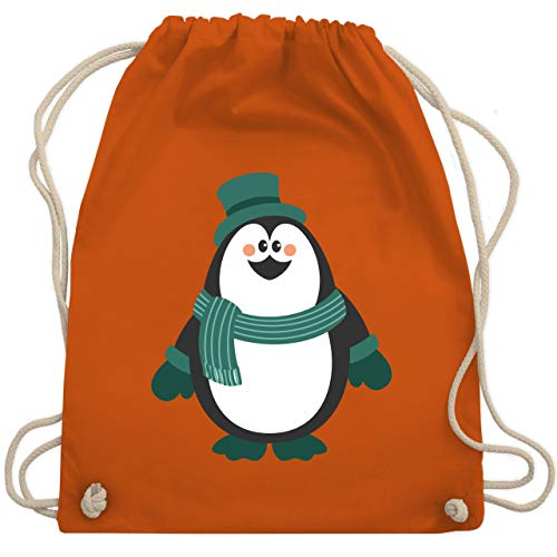 Weihnachten Kind - Winter Pinguin Hut Schal - Unisize - Orange - WM110 - Turnbeutel & Gym Bag