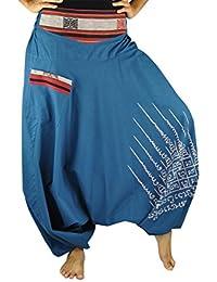 Sarouel unisexe avec entrejambe bas et impression de Yantra spirituel, pantalons ethnique, vêtements originaux de virblatt S - L – Gao Yord