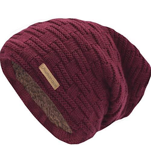 urban ace | Street Classics | Cozy fit Beanie, Mütze | Damen, Herren | mit weichem Teddyfell gefüttert | für warme Ohren | Relax fit (Ruby)