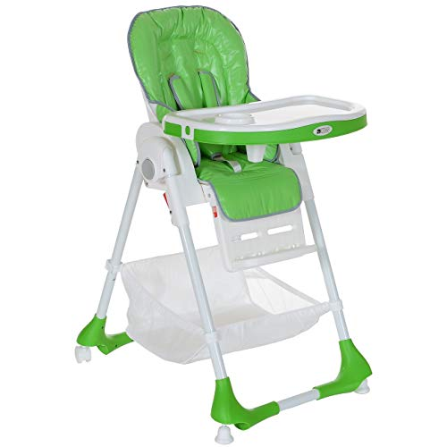 Kinderhochstuhl bis 20 kg Liegeposition Höhenverstellbar Klappbar 5 Punkt-Gurt; Grün