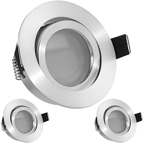 3er LED Einbaustrahler Set Aluminium matt mit LED GU10 Markenstrahler von LEDANDO - 5W DIMMBAR - warmweiss - 110° Abstrahlwinkel - schwenkbar - 35W Ersatz - A+ - LED Spot 5 Watt - Einbauleuchte LED rund