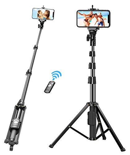 Bovon Selfie Stick Treppiede, 133 cm Estensibile Bastone Selfie Bluetooth con Telecomando Rimovibile, per iPhone 11 Pro Max /11 Pro /11 /XS Max /XR, Samsung Note 10 Plus /S10, Gopro, Fotocamera, ecc