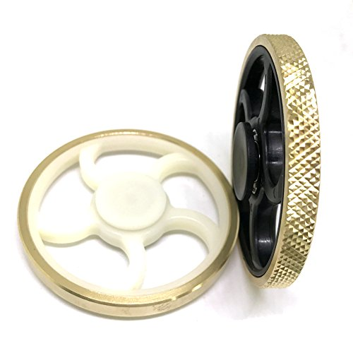 Jawell Fidget 2 Pcs Hand Spinner EDC Toy with HighSpeed Spinning Superb Bearing Gold Round Edge Good for Stress Relief and Deep Thought(1 White + 1 Black(#3)) - 5
