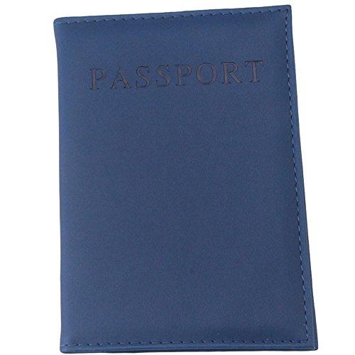 Porta passaporto per donna o uomo. portafoglio da viaggio in pelle pu (blu navy)