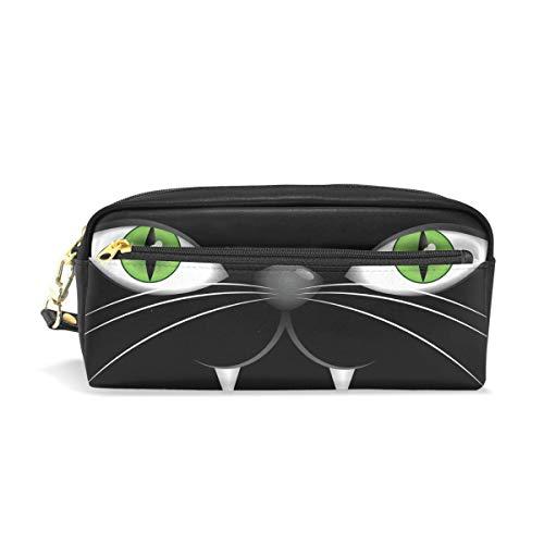 Federmäppchen, Gesicht schwarze Katze, grüne Augen bedruckt, große Kapazität, wasserdicht, Leder, 2 Fächer, ideales Halloween-Geschenk für Kinder Mädchen Jungen