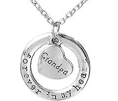 Idea Regalo - Inception Pro Infinite Collana da Donna con doppio ciondolo Cerchio e scritta Forever in My Heart Grandpa (Per sempre nel mio cuore Nonno)