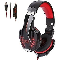 Tsing Auriculares Cascos Gaming de Diadema Abiertos con Micrófono para Portátiles PS4 Móviles Tablet (Negro+Rojo)