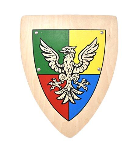 Ritter Kinder Holz Schild mit Drachen Wappen Adler (Schild Adlerorden)