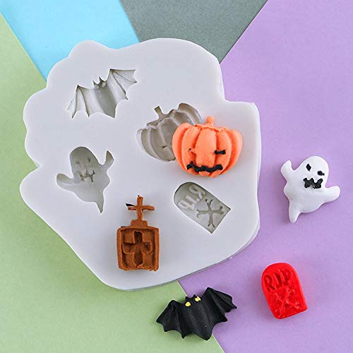 Silikon-Form für Fondant, Halloween, Kürbiskopf, Fledermaus, Grabstein, Spirituose, Backen, Schokolade, Kunstharz (Grabstein Halloween Formen)