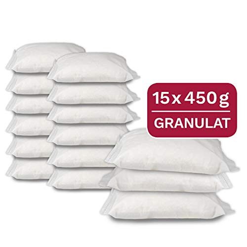 15 x 450 g Universal Luftentfeuchter Nachfüllpack, Entfeuchter Granulat in Vliesbeuteln, geeignet für gängige Raumentfeuchter -