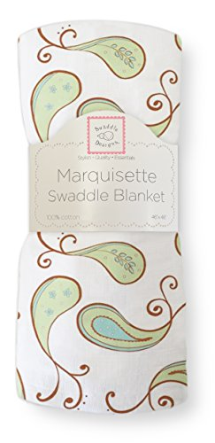 SwaddleDesigns Marquisette Swaddling Blanket, Triplets Paisley (Kiwi)