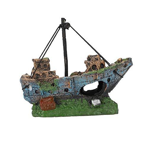 Tummop Piratenschiff, Kunstharz, Dekoration für Aquarium, Dekoration für Aquarien, Boot, Landscap, Deko