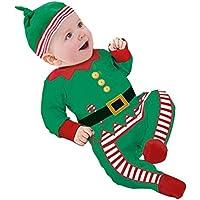 Regalo di Natale Per 0-24 Mesi,Amlaiworld Ragazzo ragazza bambini pagliaccetto + Cap Set (Verde, 12-18Mesi)