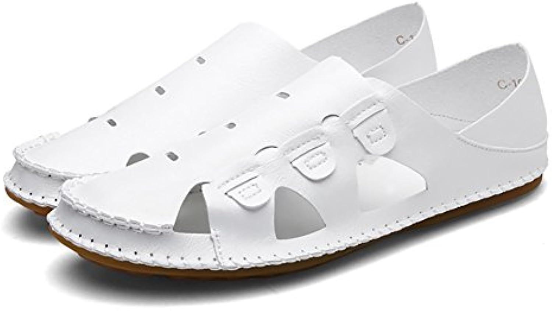 ZJM  Sommer Sandale Strand Schuhe geschlossene Zeh gestaltete weiche rutschfeste Fischer Schuhe (Farbe : Weiß Sandale geschlossene gestaltete rutschfeste Fischer