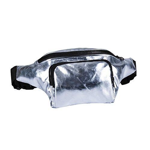 BFD - Riñonera Unisex adulto Plateado Metallic Silver Bumbag Taille unique