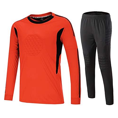 Frauen Trikot Kostüm Fußball - YCLOTH Unisex-Trikots, Team-Torwart-Kostüme mit Langen Ärmeln, schnell trocknende, atmungsaktive Herren-Sportbekleidung für Damen-orange-XL