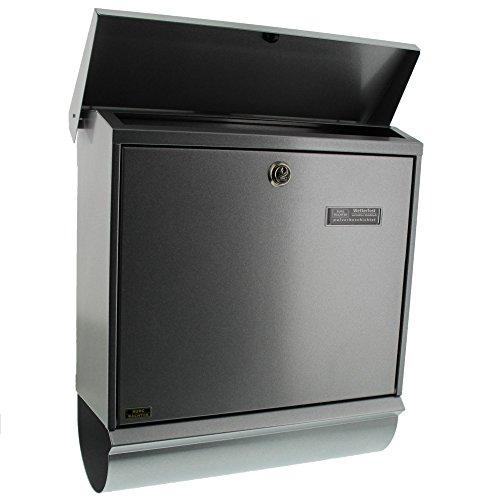 BURG-WÄCHTER, Briefkasten-Set mit integriertem Zeitungsfach, A4 Einwurf-Format, Verzinkter Stahl, Comfort-Set 91300 Si, Silber - 3