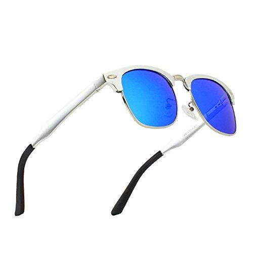 CGID Al-Mg Legierung Clubmaster Stil Polarisierte Sonnenbrillen UV400, Sonnen brillen mit Metall nieten für Männer Frauen GD58