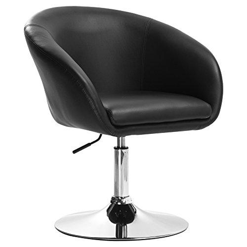 Woltu bh24sz-1 poltrona da bar sedia da scrivania sgabello girevole studio cucina sofa poltroncina con schienale braccioli imbottiti ecopelle cromato altezza regolabile nero