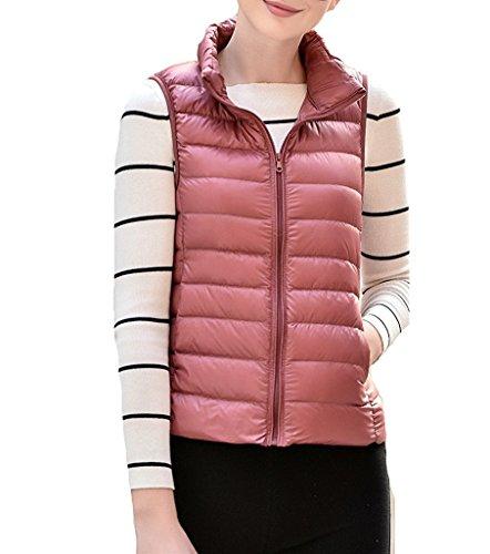 Fortuning's JDS Casual senza maniche Ultralight Down Slim Fit Top Gilets per le donne Pink