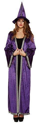Damen lila knöchellang Zauberin Zauberer Hexe Halloween Kostüm Kleid Outfit 8-12