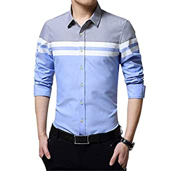 IndoPrimo Men's Cotton Casual Shirt for Men Full Sleeves (Sky, Small - 38)