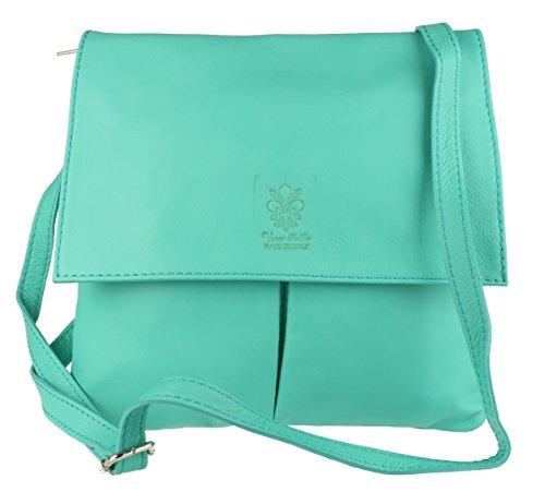Girly Handbags Doppel-Tasche aus italienischem Leder Messenger Bag -