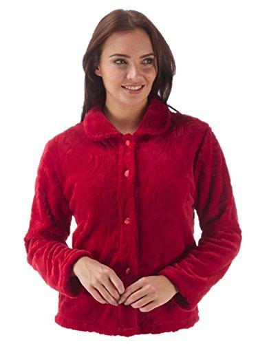 Damen fleece teddy Plüschjacke in blau und rot alle Größen Red