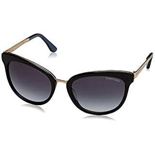 Tom Ford Women's FT0461 05W 56 Sunglasses, Black (Nero/Altro/Blu Grad)