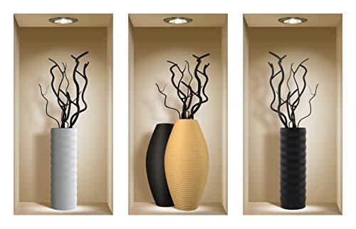 Die entfernbaren Nisha Art Magic 3D-Vinyl-Wandabziehbilder zum Selbermachen, 3er-Set, Schwarze Zweige -