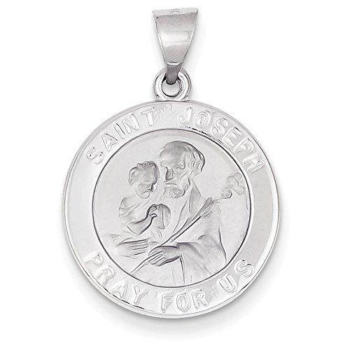 Joseph Satin (14K Weiß Gold Poliert und Satin St. Joseph Medaille Anhänger xr1340)