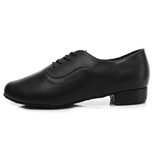YKXLM Hombres&Muchacho Cuero Zapatos latinos de baile/Zapatillas de baile/Tango Performance Calzado de Danza,ES704,Negro color,EU42