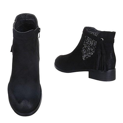 Ital-design Chelsea Boots Scarpe Da Donna Chelsea Boots Con Tacco Largo E Stivaletti Tacco Nero W132