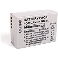 Maxsima - compatible NB-7L battery for Canon Powershot G10, G11, G12, SX30, High Capacity 1500mAh, NB7L.