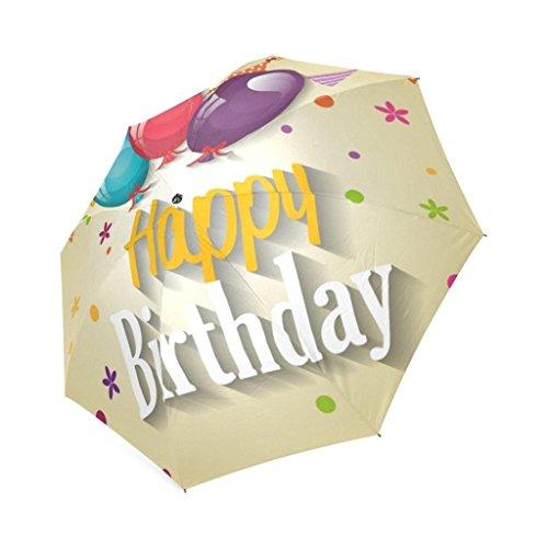EnnE Regenschirm Happy Birthday Regenschirm Kompakt Leicht Regen Regenschirm 8Rippen Faltbar Regenschirm